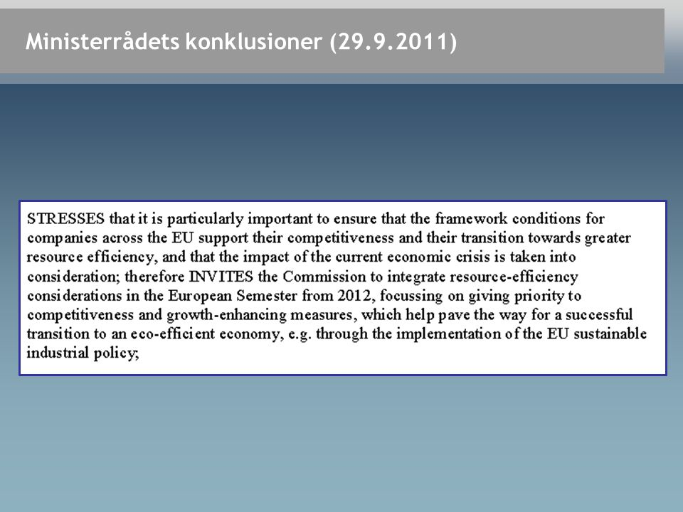 Ministerrådets konklusioner (29.9.2011)