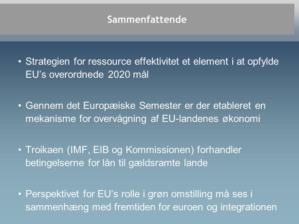 Sammenfattende •Strategien for ressource effektivitet et element i at opfylde EU's overordnede 2020 mål •Gennem det Europæiske Semester er der etableret en mekanisme for overvågning af EU-landenes økonomi •Troikaen (IMF, EIB og Kommissionen) forhandler betingelserne for lån til gældsramte lande •Perspektivet for EU's rolle i grøn omstilling må ses i sammenhæng med fremtiden for euroen og integrationen