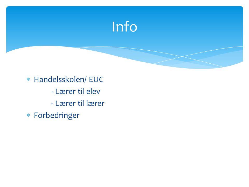  Handelsskolen/ EUC - Lærer til elev - Lærer til lærer  Forbedringer Info