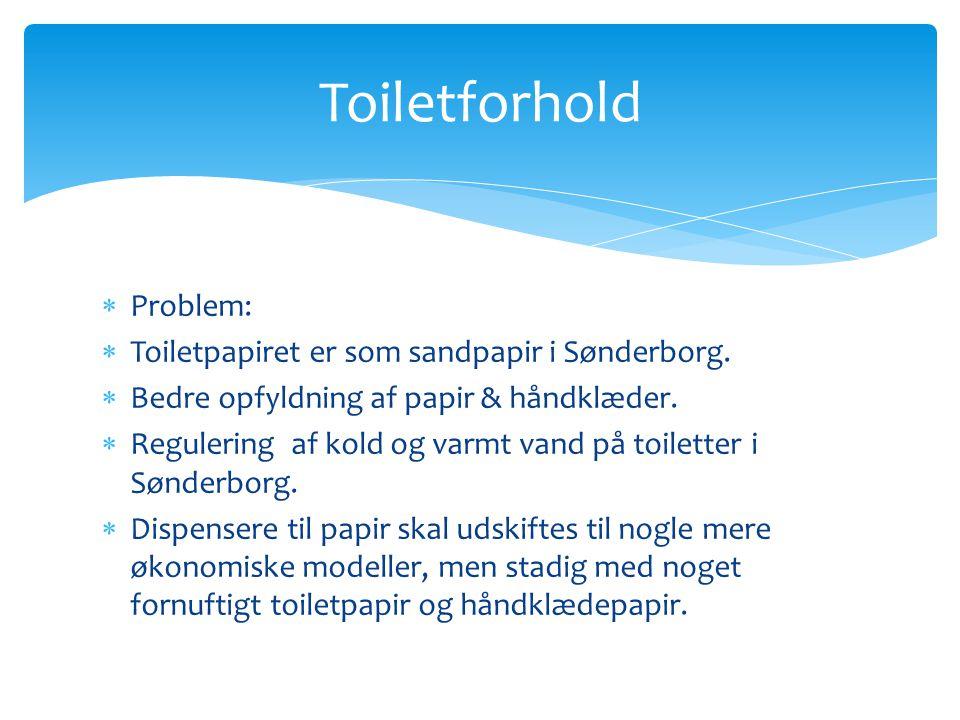 Problem:  Toiletpapiret er som sandpapir i Sønderborg.