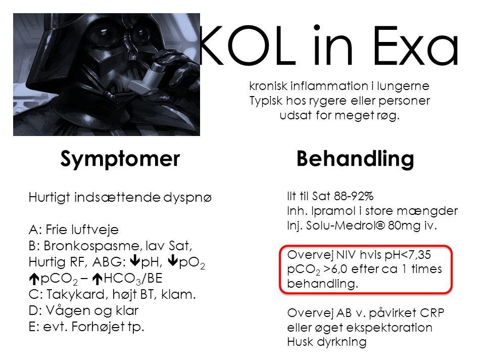 Hypo Endokrin og elektrolytdeficit Addisons krise Akut binyrebarkinsufficiens Hypovolæme, mavesmerter, hyponatriæmi og hyperkalæmi, evt hypoglykæmi IV Glukocorticoid – masser af i.v væske Hypocalcæmi Muskelstivhed, EKG forandringer (QT forlængelse) Og til sidst kramper i.v Calciumchlorid 10mL 0,5mmol/mL = 5mmol Hypokaliæmi Tænk diuretika eller metabolisk.