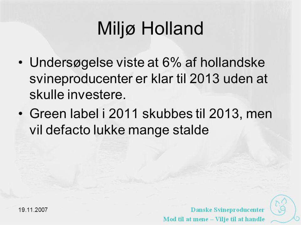 Miljø Holland •Undersøgelse viste at 6% af hollandske svineproducenter er klar til 2013 uden at skulle investere.