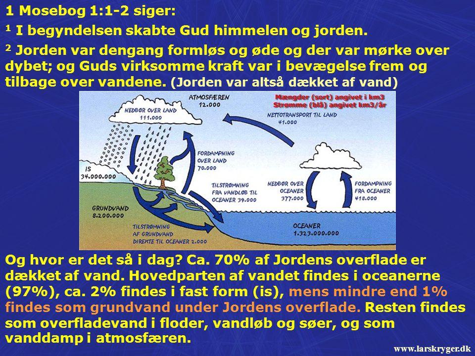 1 Mosebog 1:1-2 siger: 1 I begyndelsen skabte Gud himmelen og jorden.