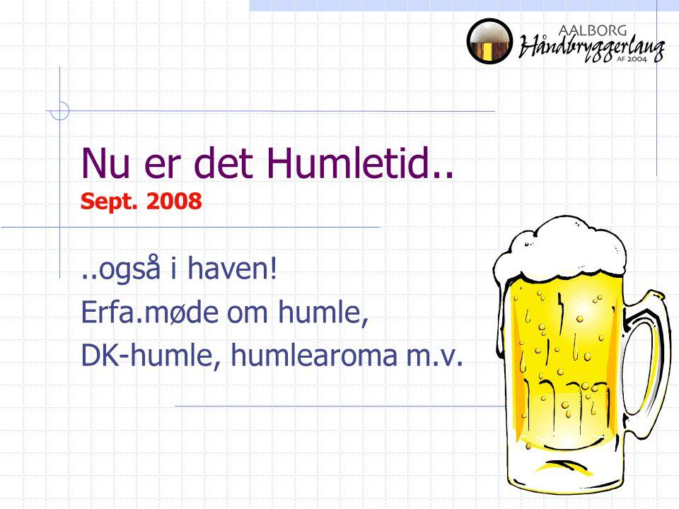 Nu er det Humletid.. Sept. 2008..også i haven! Erfa.møde om humle, DK-humle, humlearoma m.v.