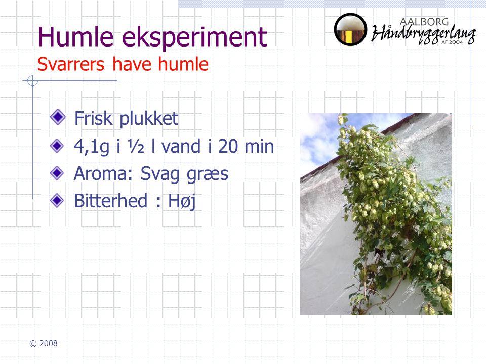 © 2008 Humle eksperiment Svarrers have humle Frisk plukket 4,1g i ½ l vand i 20 min Aroma: Svag græs Bitterhed : Høj