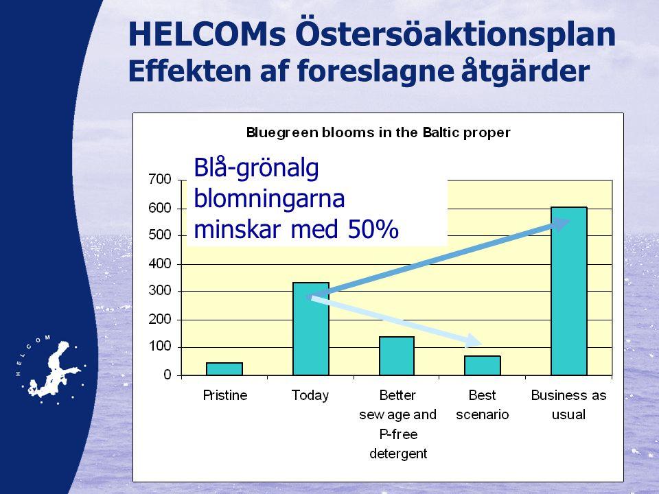Blå-grönalg blomningarna minskar med 50% HELCOMs Östersöaktionsplan Effekten af foreslagne åtgärder