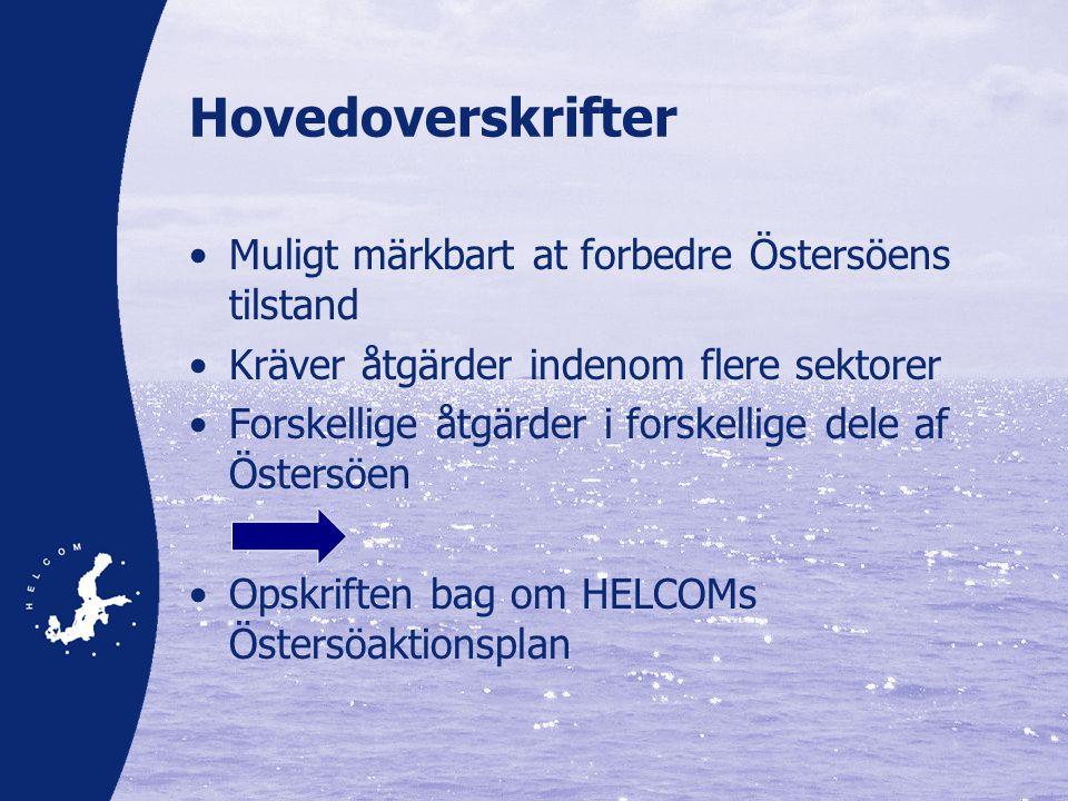 Hovedoverskrifter •Muligt märkbart at forbedre Östersöens tilstand •Kräver åtgärder indenom flere sektorer •Forskellige åtgärder i forskellige dele af Östersöen •Opskriften bag om HELCOMs Östersöaktionsplan