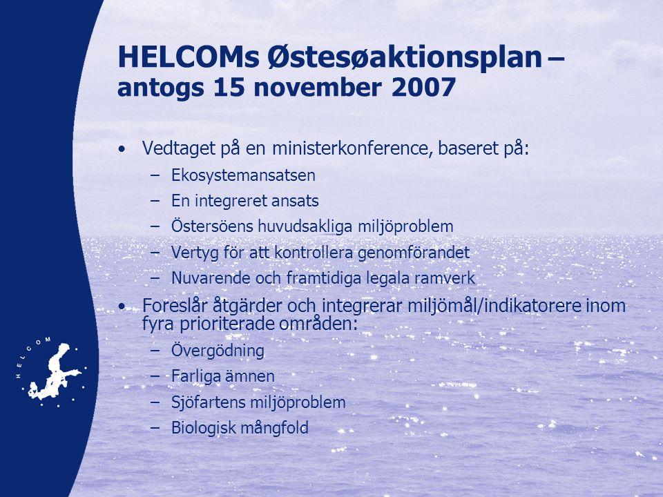 HELCOMs Østesøaktionsplan – antogs 15 november 2007 •Vedtaget på en ministerkonference, baseret på: –Ekosystemansatsen –En integreret ansats –Östersöens huvudsakliga miljöproblem –Vertyg för att kontrollera genomförandet –Nuvarende och framtidiga legala ramverk •Foreslår åtgärder och integrerar miljömål/indikatorere inom fyra prioriterade områden: –Övergödning –Farliga ämnen –Sjöfartens miljöproblem –Biologisk mångfold