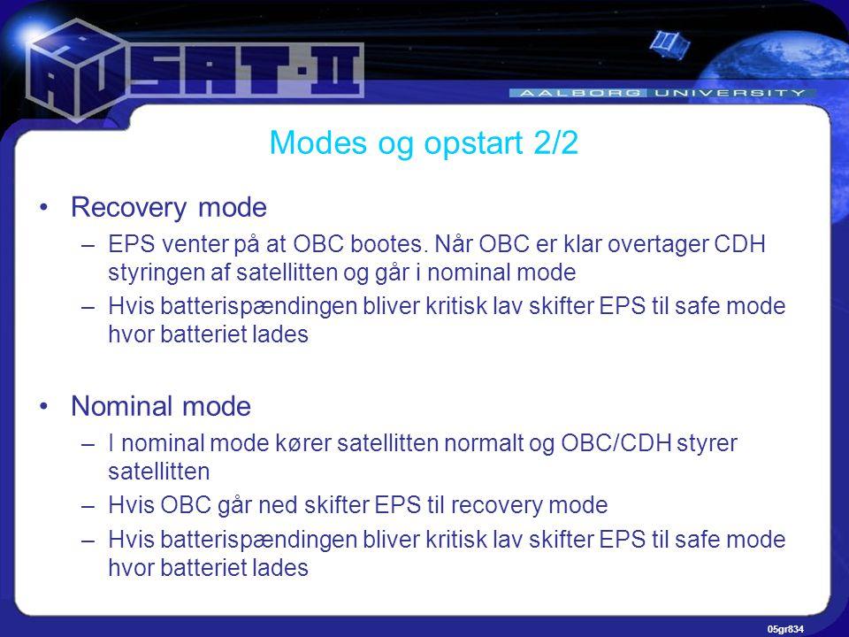 05gr834 Modes og opstart 2/2 •Recovery mode –EPS venter på at OBC bootes.