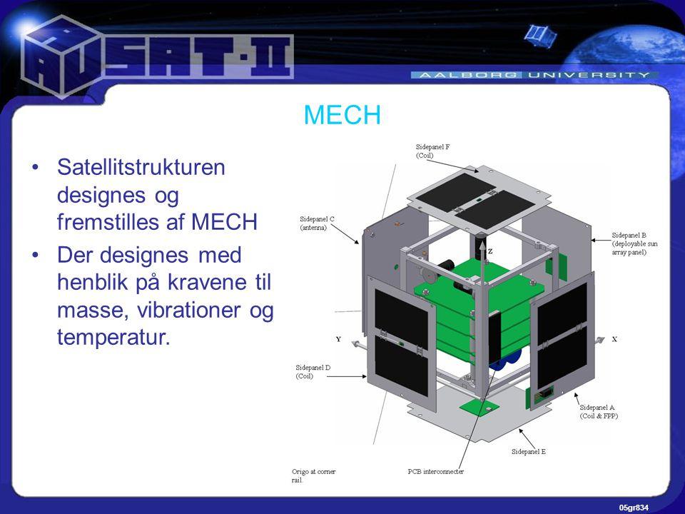 05gr834 MECH •Satellitstrukturen designes og fremstilles af MECH •Der designes med henblik på kravene til masse, vibrationer og temperatur.