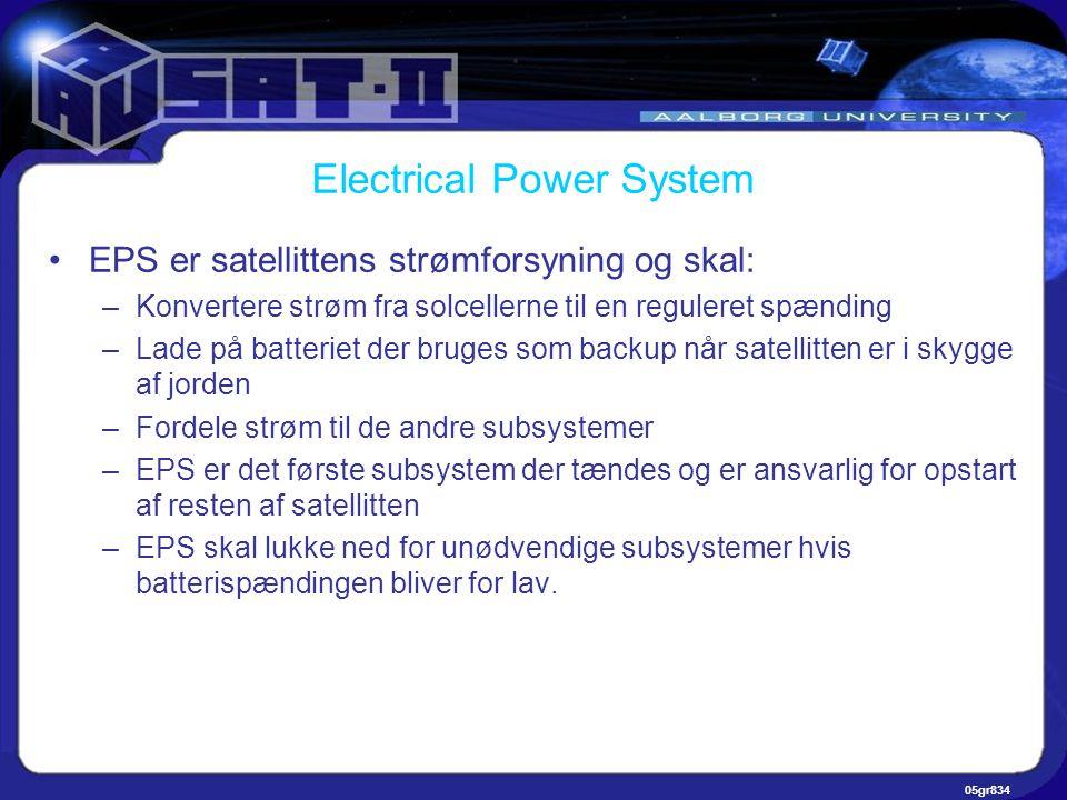 05gr834 Electrical Power System •EPS er satellittens strømforsyning og skal: –Konvertere strøm fra solcellerne til en reguleret spænding –Lade på batteriet der bruges som backup når satellitten er i skygge af jorden –Fordele strøm til de andre subsystemer –EPS er det første subsystem der tændes og er ansvarlig for opstart af resten af satellitten –EPS skal lukke ned for unødvendige subsystemer hvis batterispændingen bliver for lav.