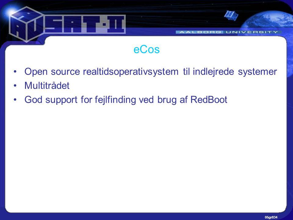 05gr834 eCos •Open source realtidsoperativsystem til indlejrede systemer •Multitrådet •God support for fejlfinding ved brug af RedBoot