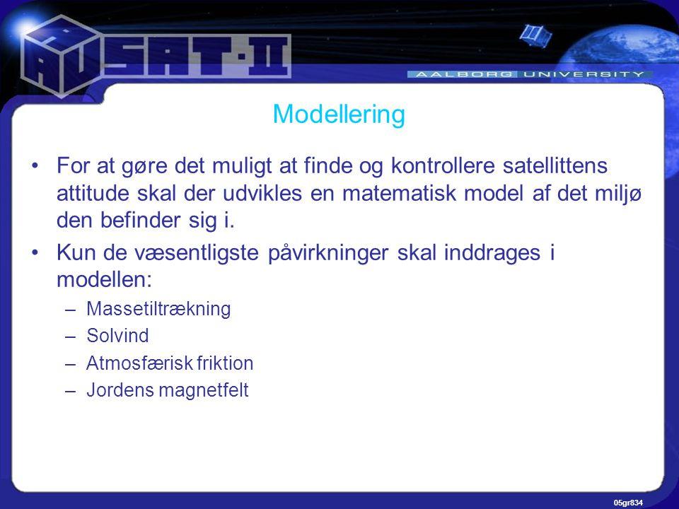 05gr834 Modellering •For at gøre det muligt at finde og kontrollere satellittens attitude skal der udvikles en matematisk model af det miljø den befinder sig i.