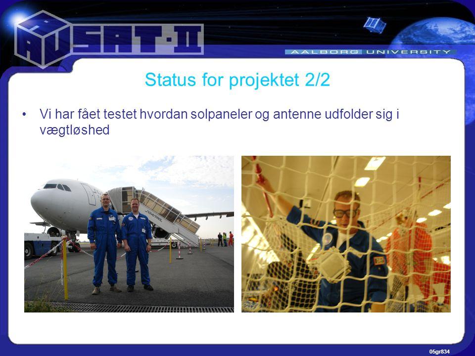 05gr834 Status for projektet 2/2 •Vi har fået testet hvordan solpaneler og antenne udfolder sig i vægtløshed