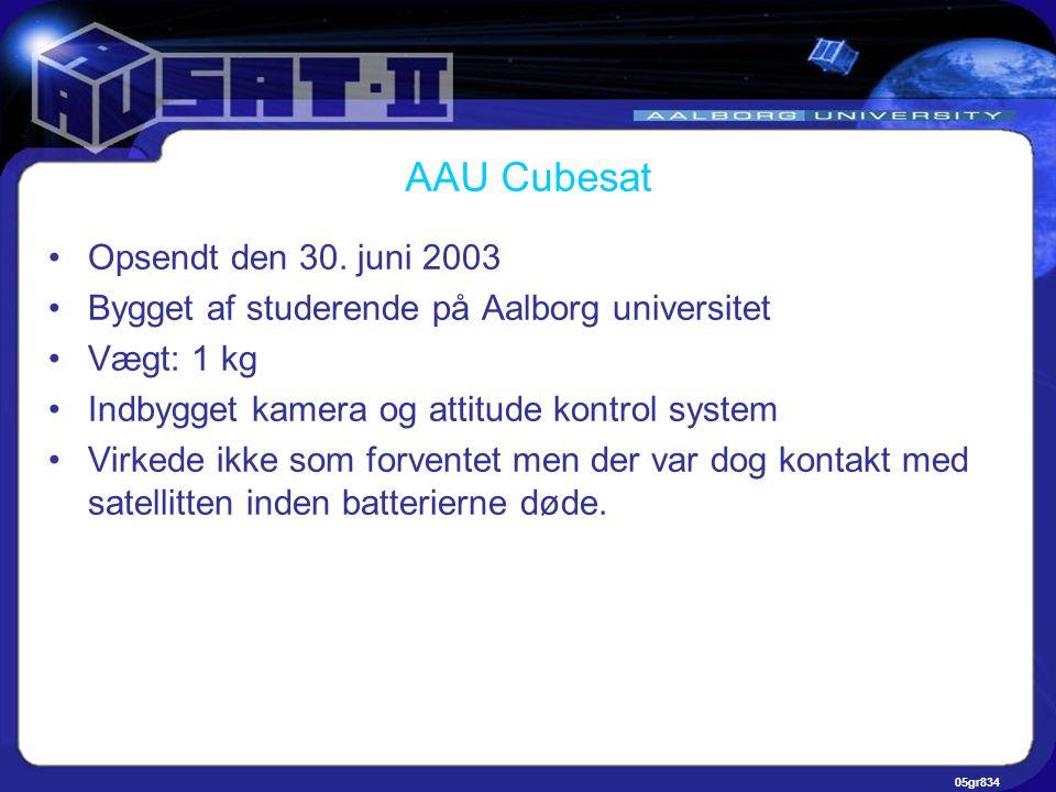 05gr834 AAU Cubesat •Opsendt den 30.