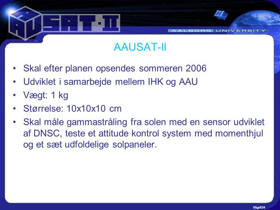 05gr834 AAUSAT-II •Skal efter planen opsendes sommeren 2006 •Udviklet i samarbejde mellem IHK og AAU •Vægt: 1 kg •Størrelse: 10x10x10 cm •Skal måle gammastråling fra solen med en sensor udviklet af DNSC, teste et attitude kontrol system med momenthjul og et sæt udfoldelige solpaneler.