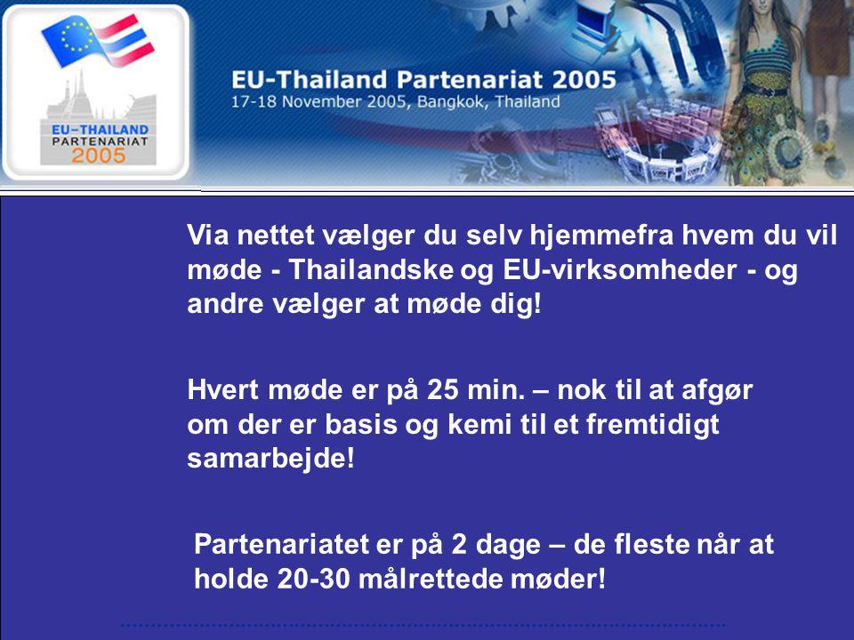 Via nettet vælger du selv hjemmefra hvem du vil møde - Thailandske og EU-virksomheder - og andre vælger at møde dig.
