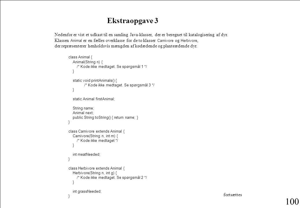 100 Nedenfor er vist et udkast til en samling Java-klasser, der er beregnet til katalogisering af dyr.