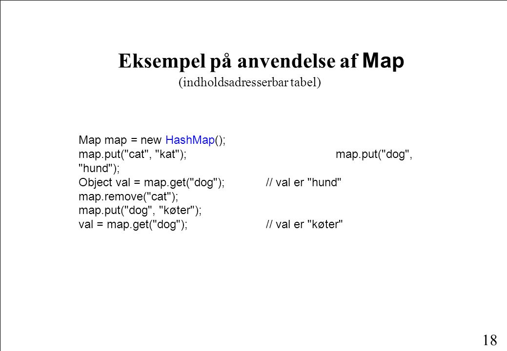 18 Eksempel på anvendelse af Map Map map = new HashMap(); map.put( cat , kat ); map.put( dog , hund ); Object val = map.get( dog ); // val er hund map.remove( cat ); map.put( dog , køter ); val = map.get( dog ); // val er køter (indholdsadresserbar tabel)