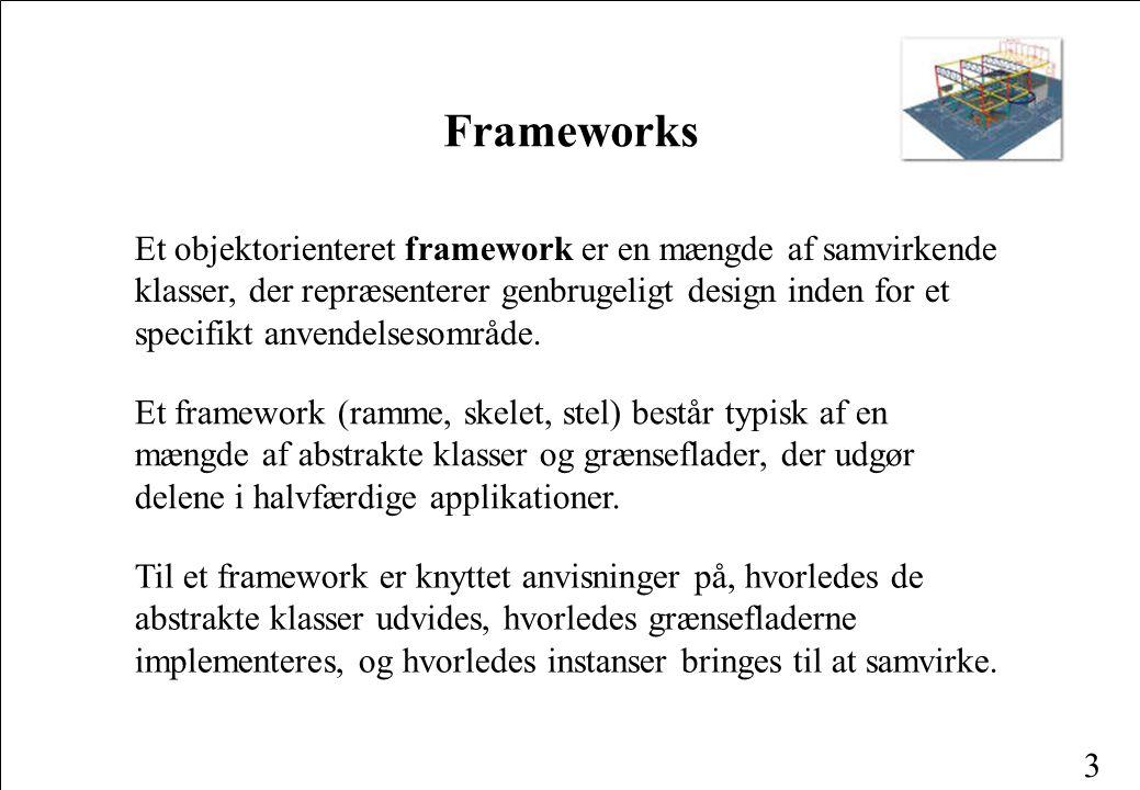 3 Et objektorienteret framework er en mængde af samvirkende klasser, der repræsenterer genbrugeligt design inden for et specifikt anvendelsesområde.