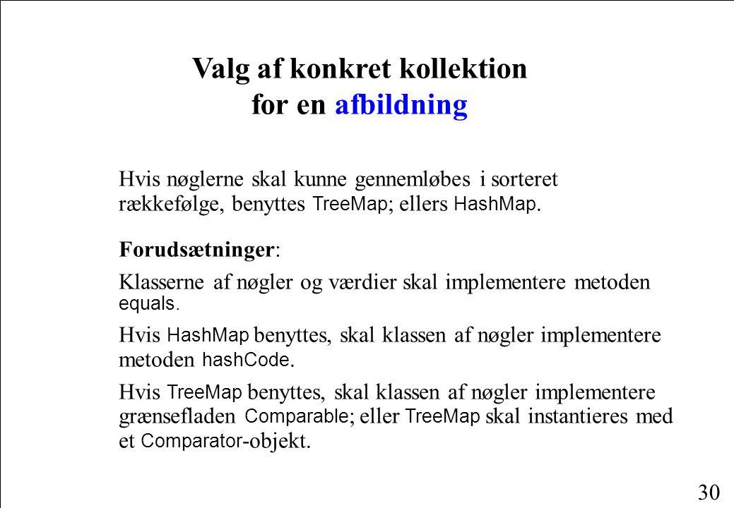 30 Valg af konkret kollektion for en afbildning Hvis nøglerne skal kunne gennemløbes i sorteret rækkefølge, benyttes TreeMap ; ellers HashMap.