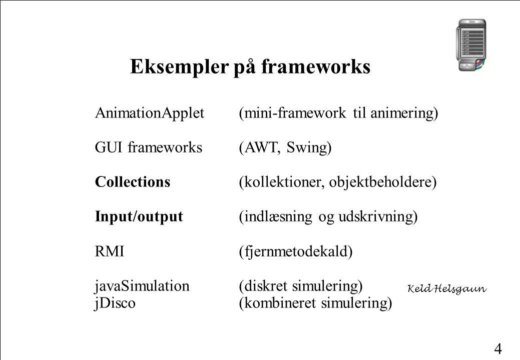 4 AnimationApplet (mini-framework til animering) GUI frameworks (AWT, Swing) Collections (kollektioner, objektbeholdere) Input/output (indlæsning og udskrivning) RMI (fjernmetodekald) javaSimulation (diskret simulering) jDisco(kombineret simulering) Eksempler på frameworks Keld Helsgaun