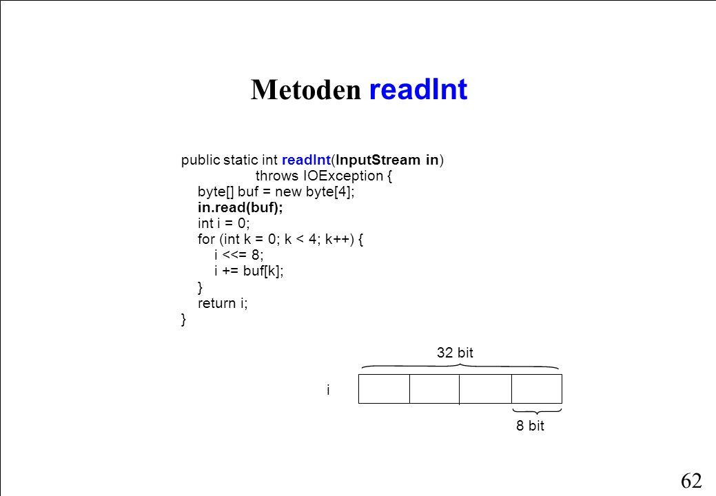 62 public static int readInt(InputStream in) throws IOException { byte[] buf = new byte[4]; in.read(buf); int i = 0; for (int k = 0; k < 4; k++) { i <<= 8; i += buf[k]; } return i; } Metoden readInt i 8 bit 32 bit