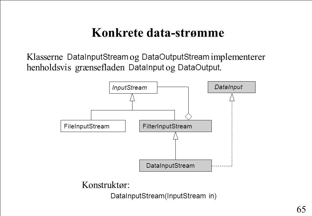 65 Klasserne DataInputStream og DataOutputStream implementerer henholdsvis grænsefladen DataInput og DataOutput.