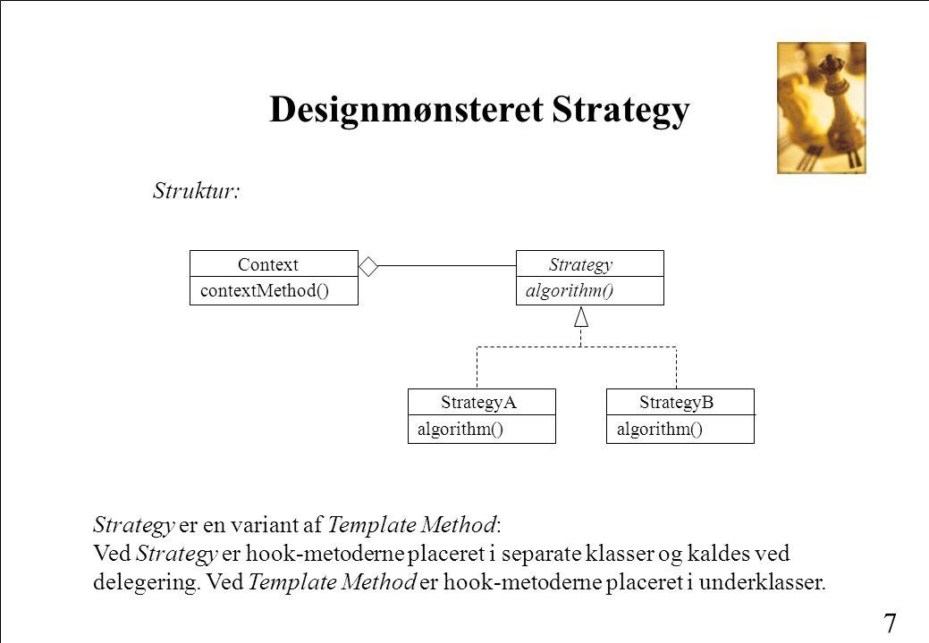 7 Designmønsteret Strategy Struktur: StrategyA algorithm() StrategyB algorithm() Strategy algorithm() Context contextMethod() Strategy er en variant af Template Method: Ved Strategy er hook-metoderne placeret i separate klasser og kaldes ved delegering.