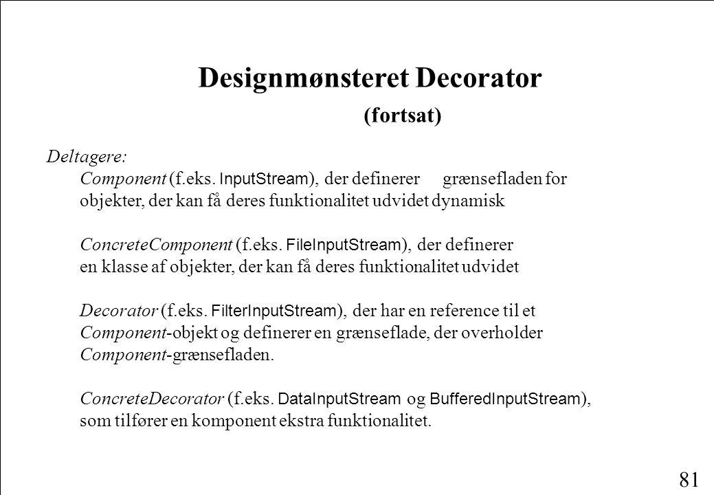 81 Designmønsteret Decorator (fortsat) Deltagere: Component (f.eks.