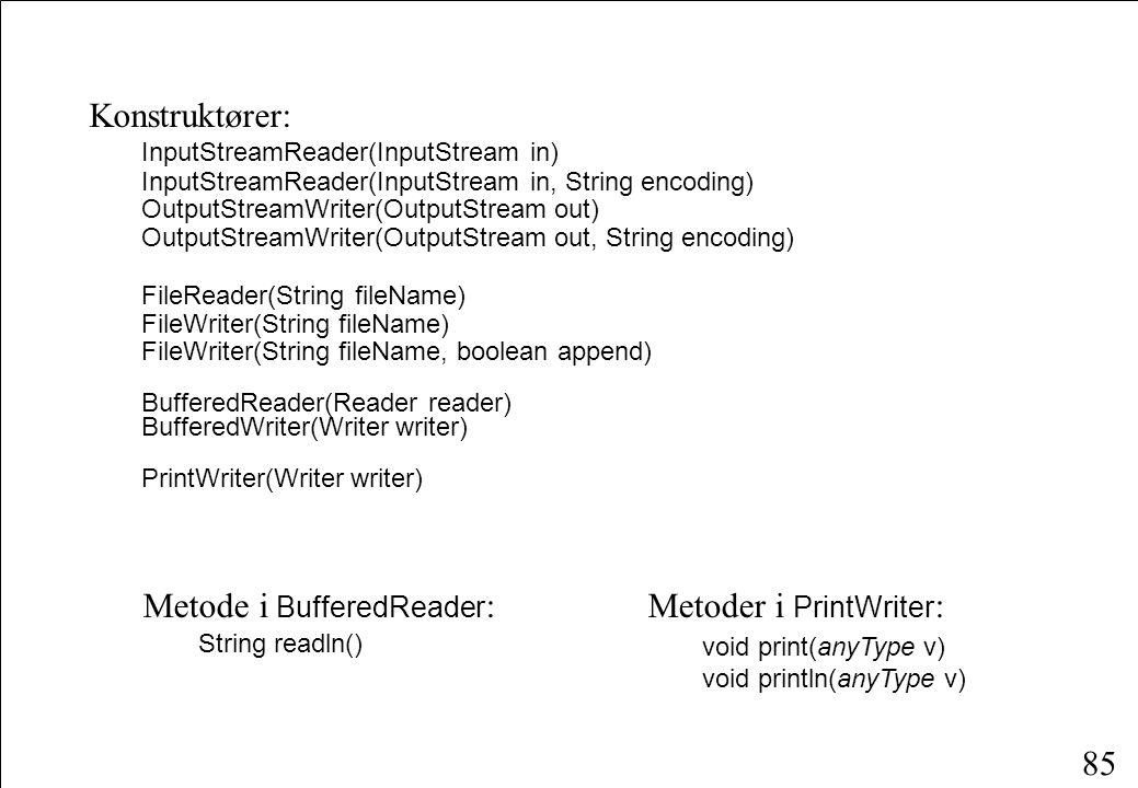 85 Konstruktører: InputStreamReader(InputStream in) InputStreamReader(InputStream in, String encoding) OutputStreamWriter(OutputStream out) OutputStreamWriter(OutputStream out, String encoding) FileReader(String fileName) FileWriter(String fileName) FileWriter(String fileName, boolean append) BufferedReader(Reader reader) BufferedWriter(Writer writer) PrintWriter(Writer writer) Metoder i PrintWriter : void print(anyType v) void println(anyType v) Metode i BufferedReader : String readln()