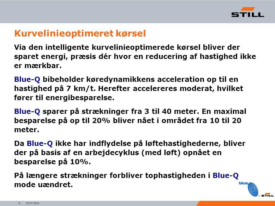 03.07.20145 Kurvelinieoptimeret kørsel Via den intelligente kurvelinieoptimerede kørsel bliver der sparet energi, præsis dér hvor en reducering af hastighed ikke er mærkbar.