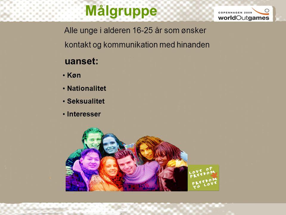 Med fokus på homo-,bi og transseksuelle Målgruppe Alle unge i alderen 16-25 år som ønsker kontakt og kommunikation med hinanden uanset: • Køn • Nationalitet • Seksualitet • Interesser