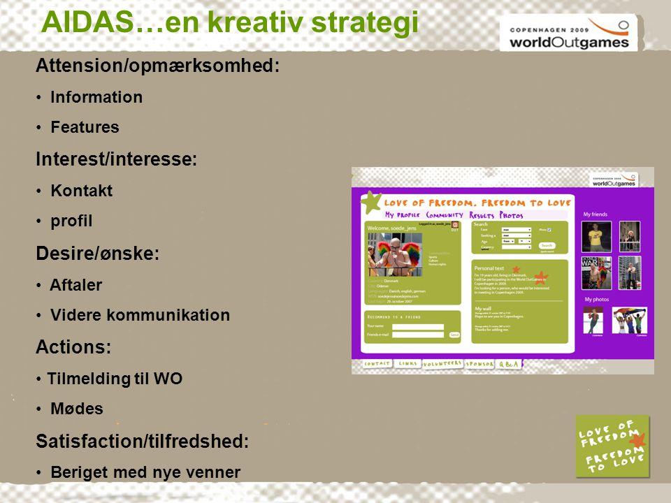AIDAS…en kreativ strategi Attension/opmærksomhed: • Information • Features Interest/interesse: • Kontakt • profil Desire/ønske: • Aftaler • Videre kommunikation Actions: • Tilmelding til WO • Mødes Satisfaction/tilfredshed: • Beriget med nye venner