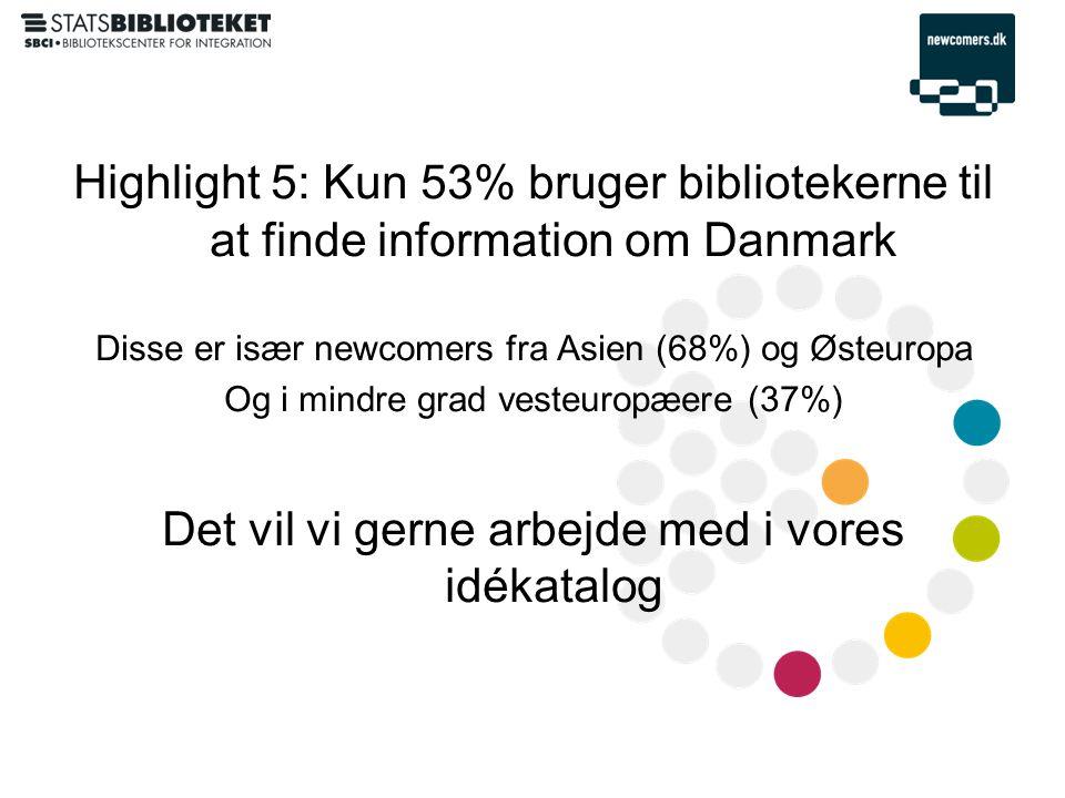 Highlight 5: Kun 53% bruger bibliotekerne til at finde information om Danmark Disse er især newcomers fra Asien (68%) og Østeuropa Og i mindre grad vesteuropæere (37%) Det vil vi gerne arbejde med i vores idékatalog