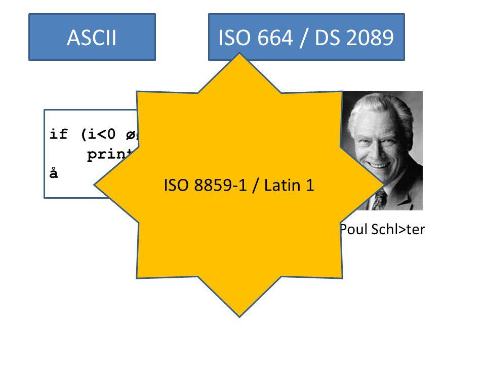 ASCIIISO 664 / DS 2089 if (i 8) æ printf( FintØn ); å Poul Schl>ter ISO 8859-1 / Latin 1