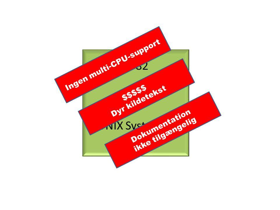 1982 AT&T UNIX System III Ingen multi-CPU-support $$$$$ Dyr kildetekst Dokumentation ikke tilgængelig