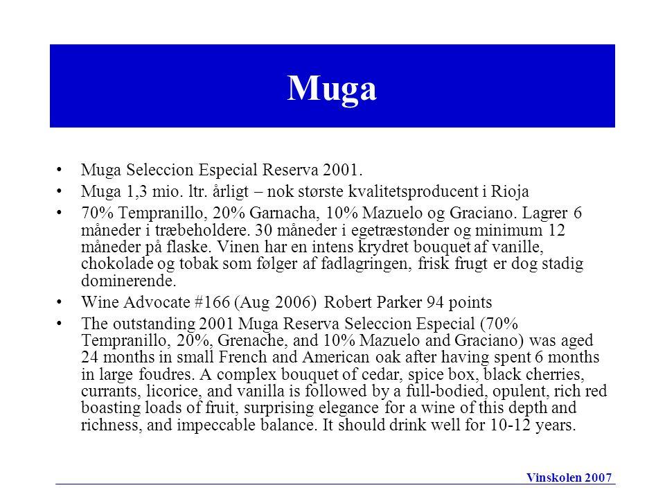 •Muga Seleccion Especial Reserva 2001. •Muga 1,3 mio.