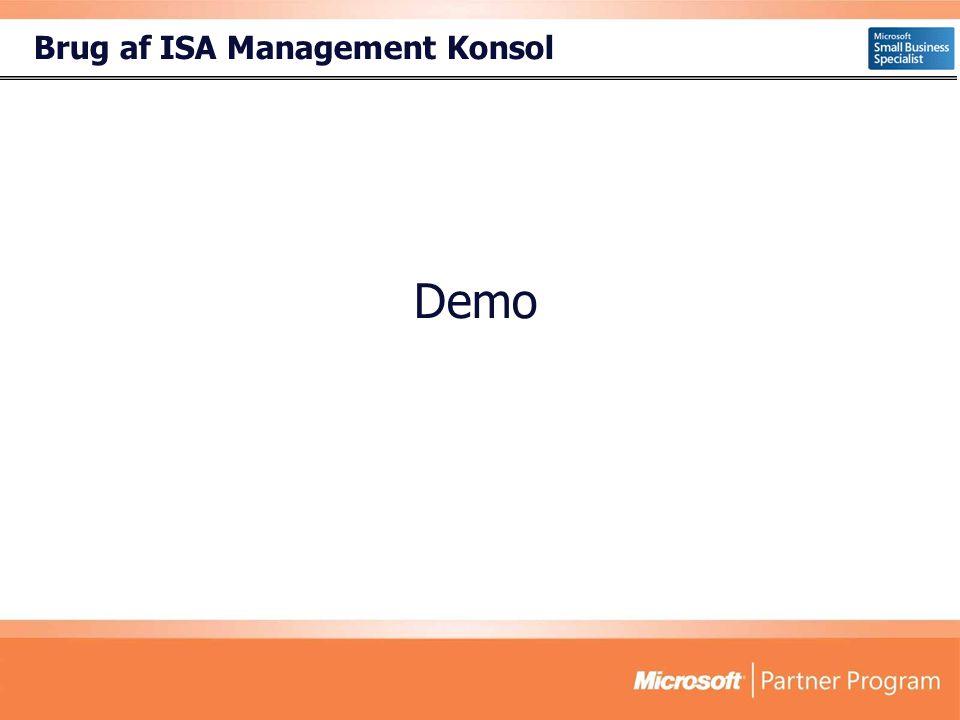 Brug af ISA Management Konsol Demo