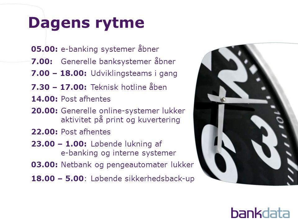 Dagens rytme 05.00:e-banking systemer åbner 7.00:Generelle banksystemer åbner 7.30 – 17.00:Teknisk hotline åben 7.00 – 18.00:Udviklingsteams i gang 14.00:Post afhentes 20.00:Generelle online-systemer lukker aktivitet på print og kuvertering 23.00 – 1.00:Løbende lukning af e-banking og interne systemer 22.00:Post afhentes 03.00:Netbank og pengeautomater lukker 18.00 – 5.00:Løbende sikkerhedsback-up