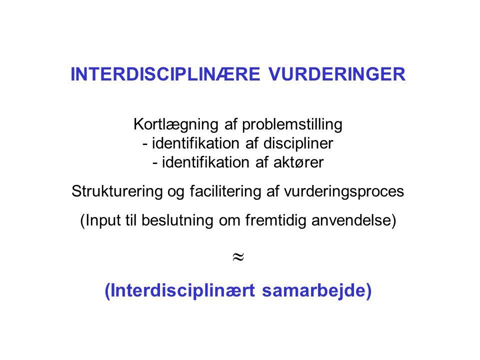 INTERDISCIPLINÆRE VURDERINGER Kortlægning af problemstilling - identifikation af discipliner - identifikation af aktører Strukturering og facilitering af vurderingsproces (Input til beslutning om fremtidig anvendelse)  (Interdisciplinært samarbejde)