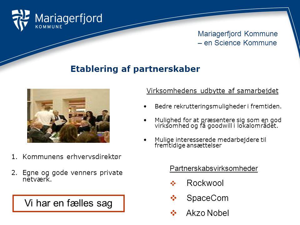 Etablering af partnerskaber 1.Kommunens erhvervsdirektør 2.Egne og gode venners private netværk.