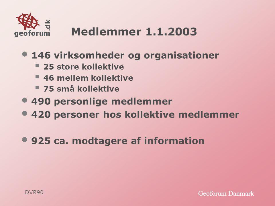 DVR90 Geoforum Danmark Medlemmer 1.1.2003 • 146 virksomheder og organisationer  25 store kollektive  46 mellem kollektive  75 små kollektive • 490 personlige medlemmer • 420 personer hos kollektive medlemmer • 925 ca.