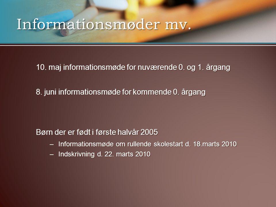 Informationsmøder mv. 10. maj informationsmøde for nuværende 0.