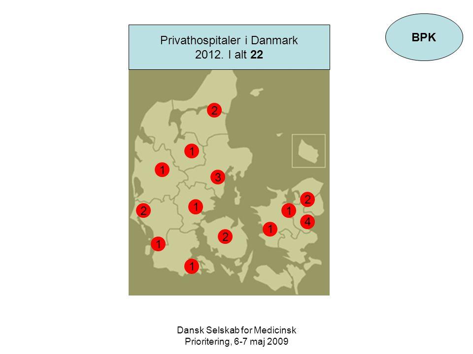 Dansk Selskab for Medicinsk Prioritering, 6-7 maj 2009 BPK Privathospitaler i Danmark 2012.