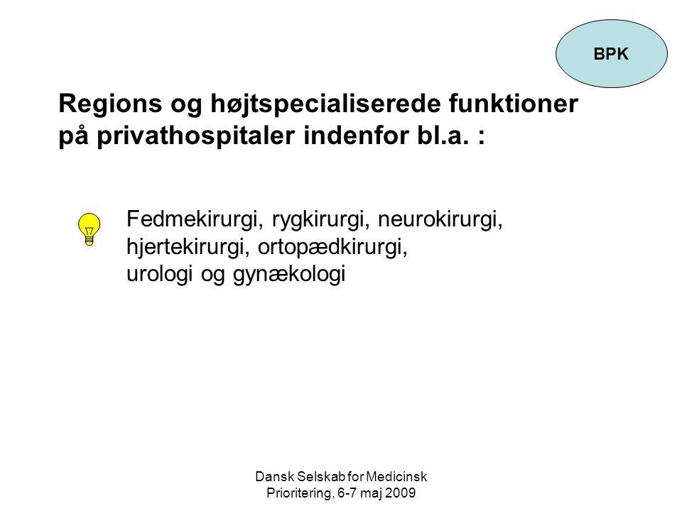 Dansk Selskab for Medicinsk Prioritering, 6-7 maj 2009 Regions og højtspecialiserede funktioner på privathospitaler indenfor bl.a.