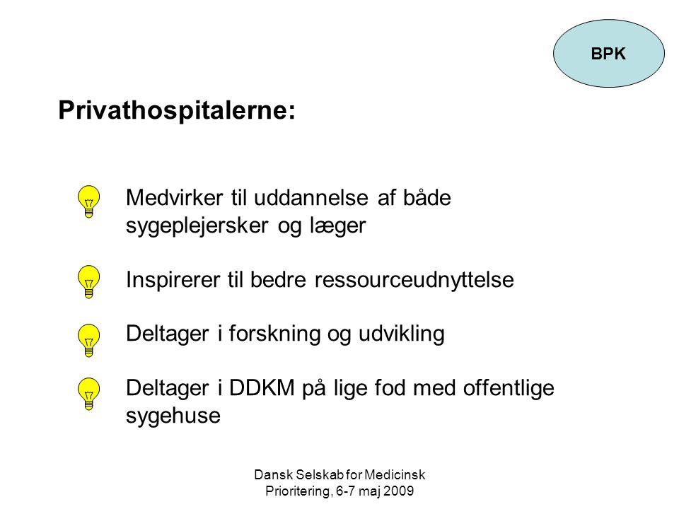 Dansk Selskab for Medicinsk Prioritering, 6-7 maj 2009 Privathospitalerne: Medvirker til uddannelse af både sygeplejersker og læger Inspirerer til bedre ressourceudnyttelse Deltager i forskning og udvikling Deltager i DDKM på lige fod med offentlige sygehuse BPK