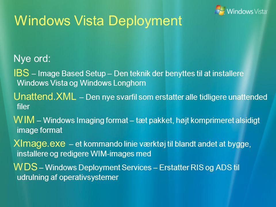 Nye ord: IBS – Image Based Setup – Den teknik der benyttes til at installere Windows Vista og Windows Longhorn Unattend.XML – Den nye svarfil som erstatter alle tidligere unattended filer WIM – Windows Imaging format – tæt pakket, højt komprimeret alsidigt image format XImage.exe – et kommando linie værktøj til blandt andet at bygge, installere og redigere WIM-images med WDS – Windows Deployment Services – Erstatter RIS og ADS til udrulning af operativsystemer Windows Vista Deployment