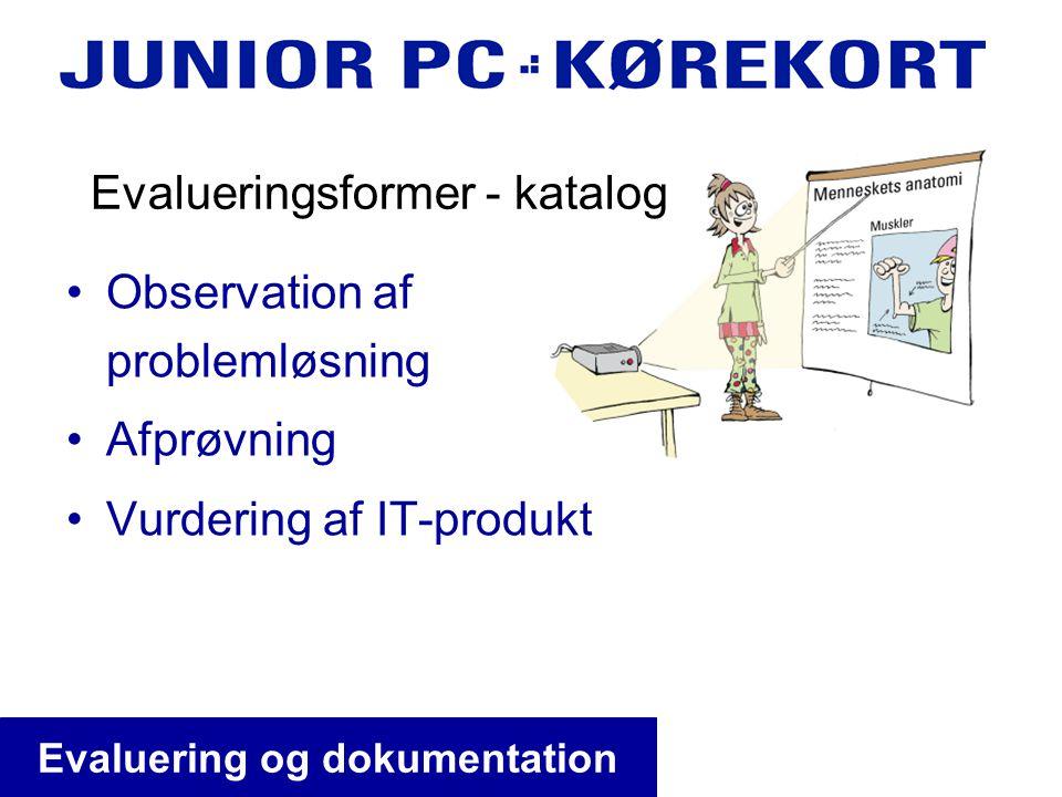 •Observation af problemløsning •Afprøvning •Vurdering af IT-produkt Evalueringsformer - katalog Evaluering og dokumentation