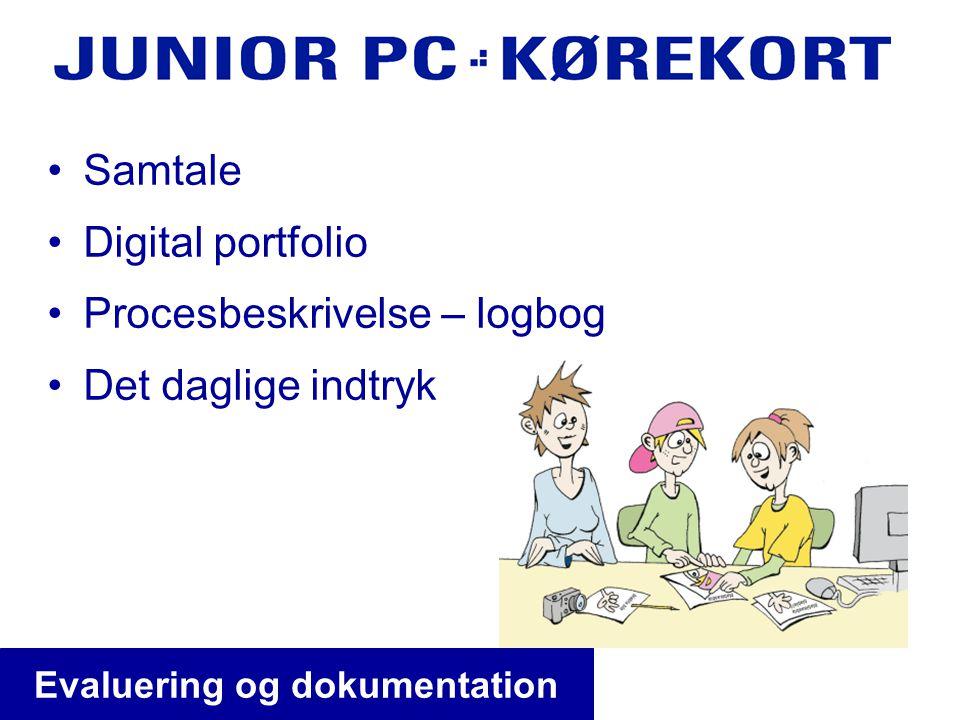 •Samtale •Digital portfolio •Procesbeskrivelse – logbog •Det daglige indtryk Evaluering og dokumentation